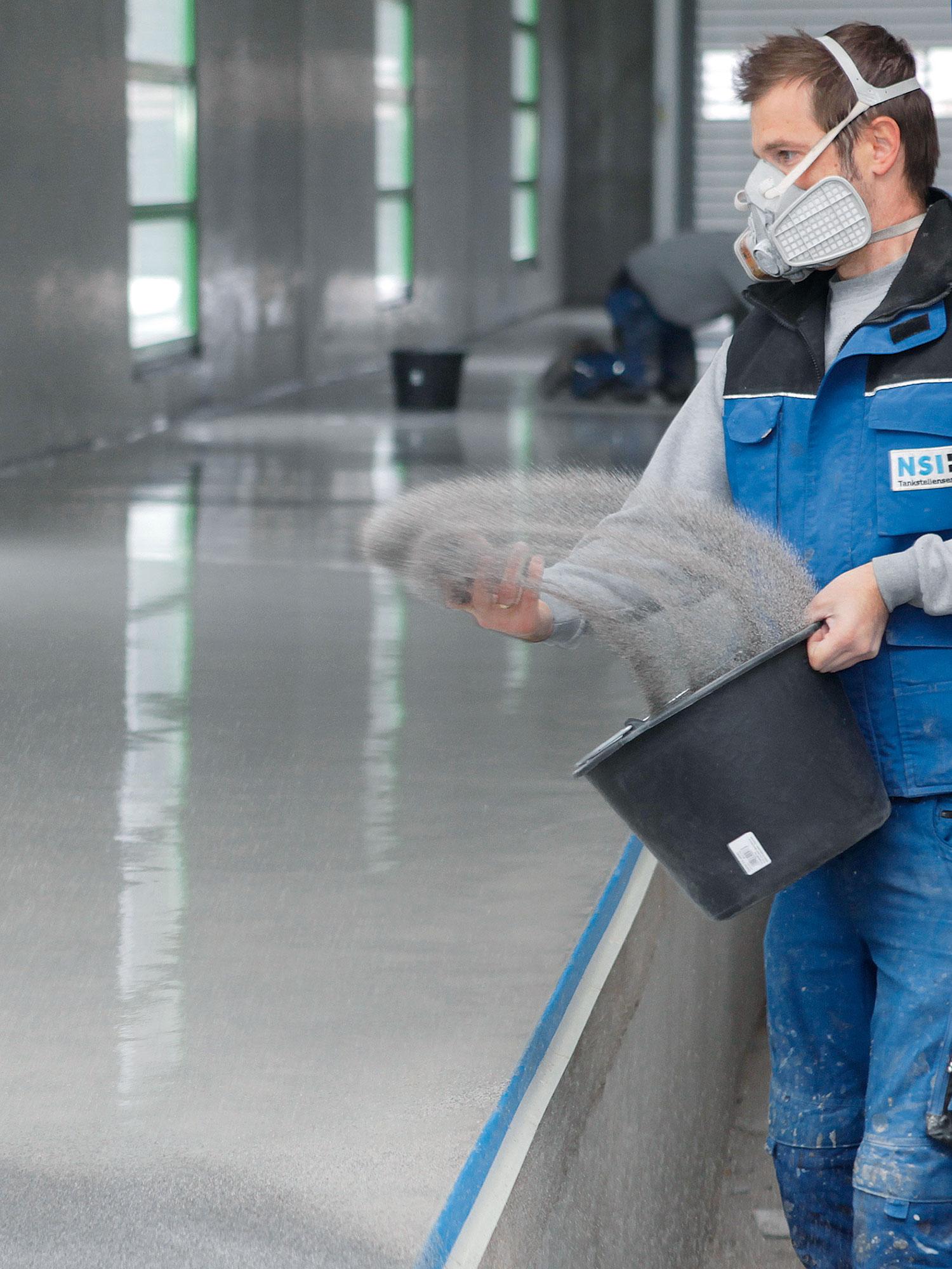 NSI PHG Sanierung Waschstrasse Waschhalle Bodenbelag Streuung Detail