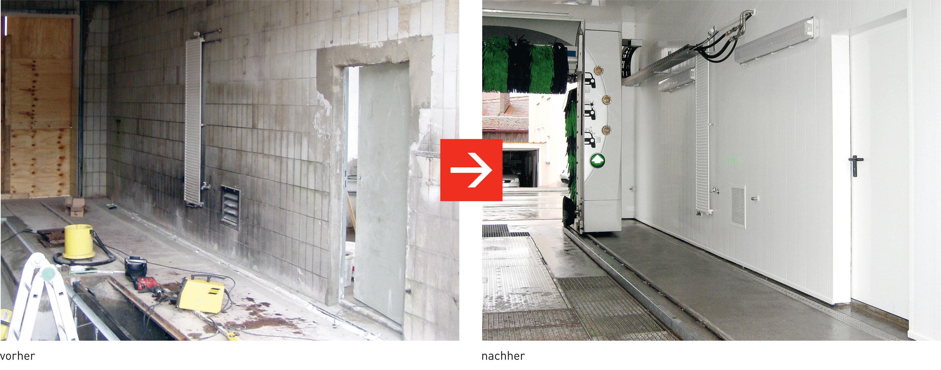 NSI PHG Sanierung Waschstrasse Waschhalle vorher-nachher